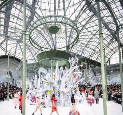 chanel, couture, paper flowers, flowers, models, fashion